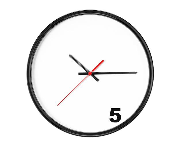 Vijf uur concept. klok met focus op 5 teken op een witte achtergrond