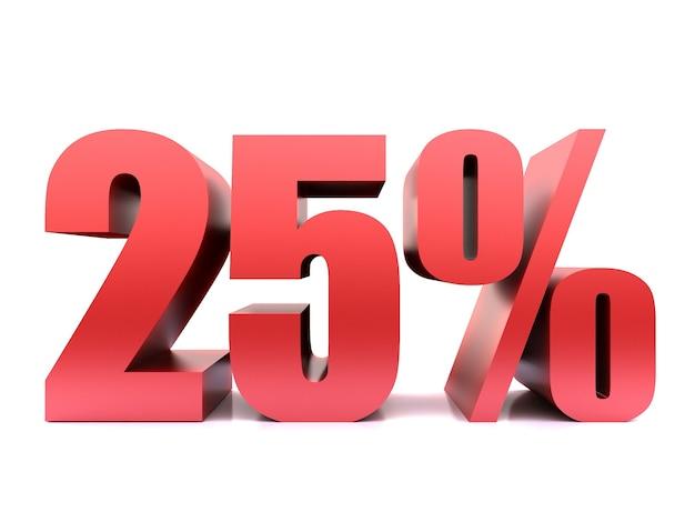 Vijfentwintig procent 25% symbool .3d-weergave