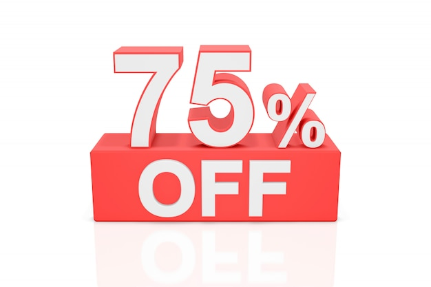 Vijfenzeventig procent korting. verkoop banner. 3d-weergave