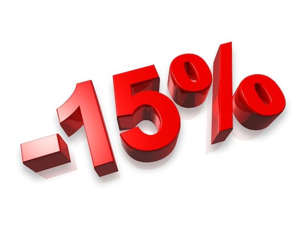 Vijftien procent 3d-nummer op wit wordt geïsoleerd