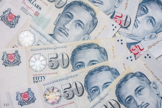 Vijftig bankbiljet van de dollar van singapore. investeringen, financiën