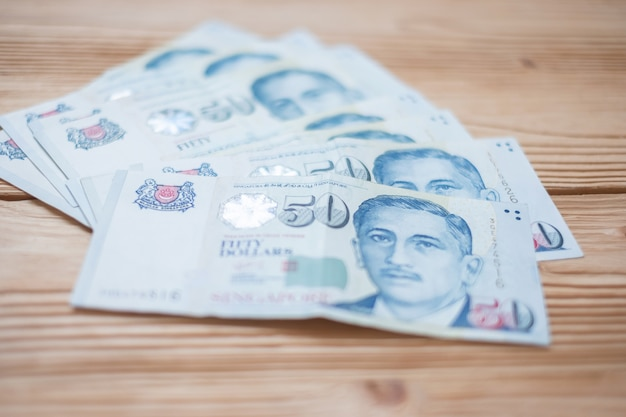 Vijftig bankbiljet van de dollar van singapore. zakelijke financiën
