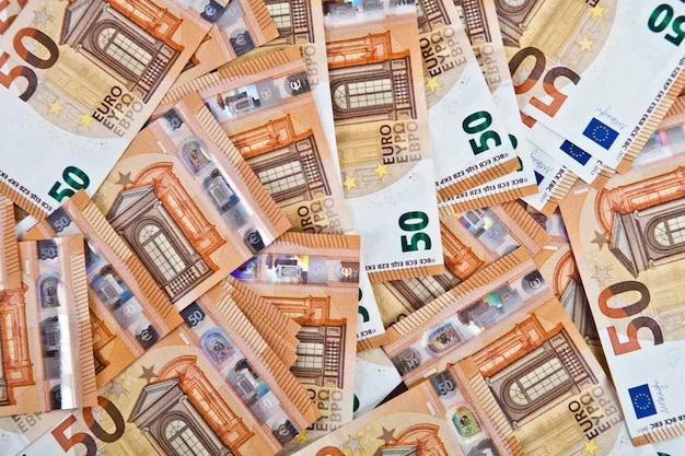 Vijftig euro bankbiljetten achtergrond