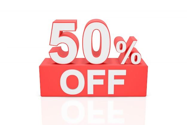 Vijftig procent korting. verkoop banner. 3d-weergave