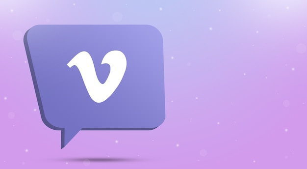 Vimeo-logopictogram op tekstballon 3d