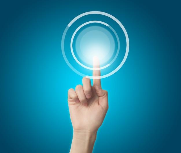 Vinger aanraken van een virtuele knop
