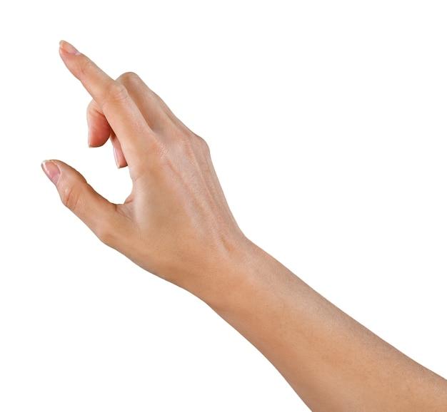 Vinger die op een denkbeeldige knop drukt, wijzend