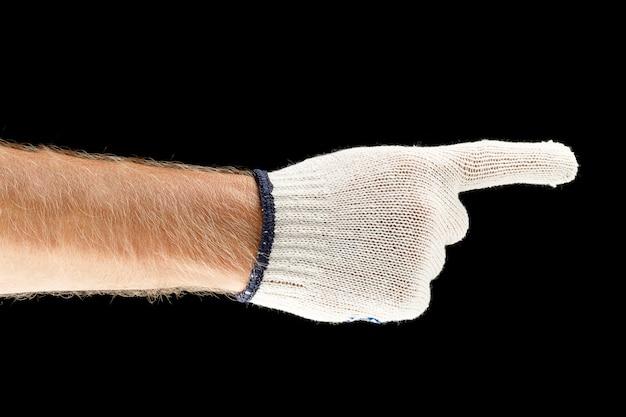 Vinger en hand wijzend in werkhandschoenen
