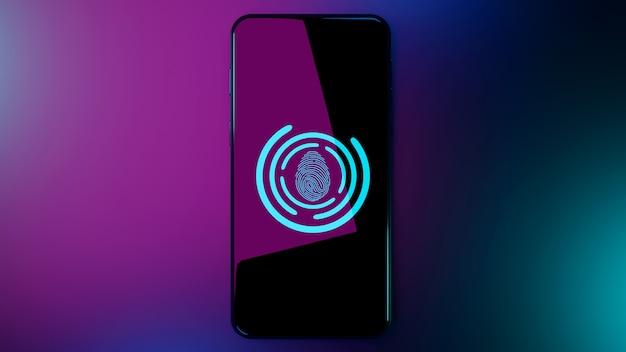 Vingerafdruk scannen om persoonlijk op smartphone te identificeren
