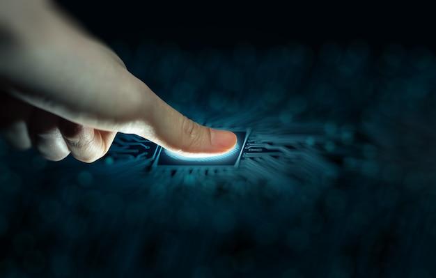 Vingerafdrukscan biedt toegang met biometrische identificatie beveiligingsidentificatie concept
