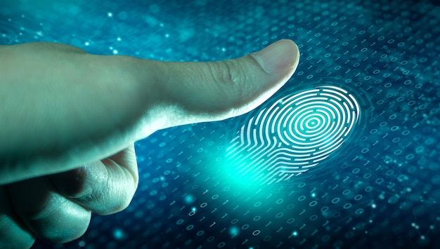 Vingerafdrukscan biedt toegang met biometrische identificatie op de digitale convergentie