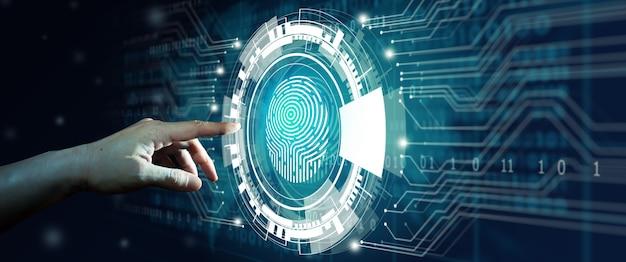 Vingerafdrukscan biedt toegang met biometrische identificatie technologie beveiliging