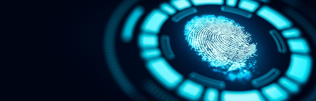 Vingerafdruktechnologie scan biedt beveiligde toegang. geavanceerde technologische verificatie toekomst en cybernetisch. biometrie authenticatie en identiteit concept. 3d-weergave.