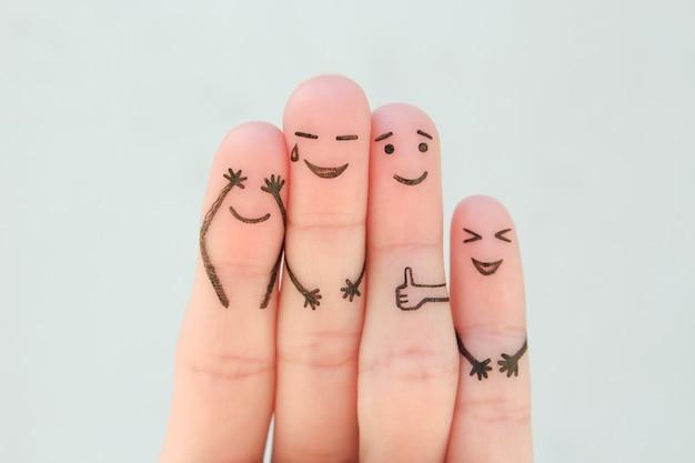 Vingers kunst van familie. het concept van een groep mensen lachen.