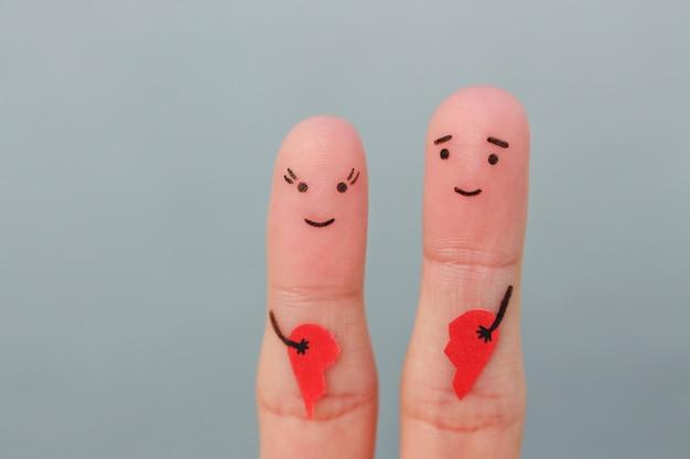 Vingers kunst van gelukkige paar.