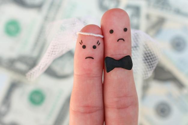 Vingers kunst van paar op geld