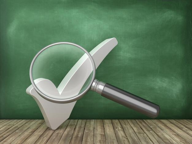 Vinkje met loep op schoolbord achtergrond