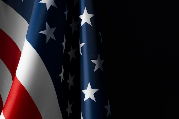 Vintage amerikaanse vlag op een schoolbord met ruimte voor tekst