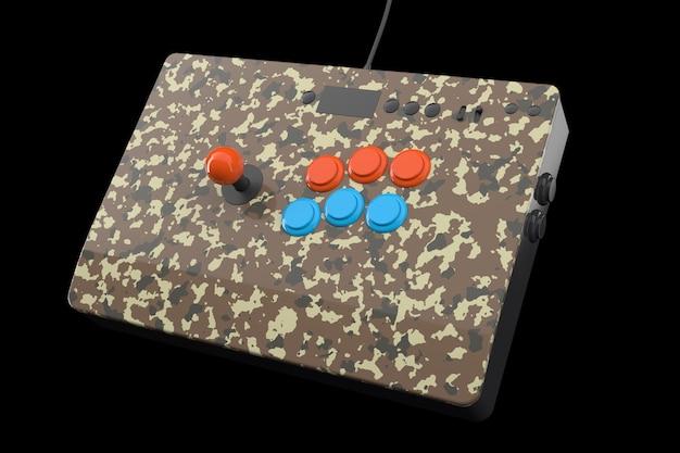Vintage arcade game machine met kleurrijke controllers geïsoleerd op zwart