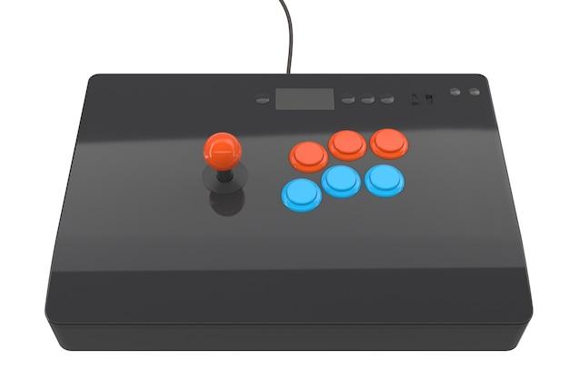 Vintage arcade stick met joystick en toernooi-grade knoppen geïsoleerd op wit met uitknippad. 3d-weergave van gamemachine en gamer-werkruimteconcept
