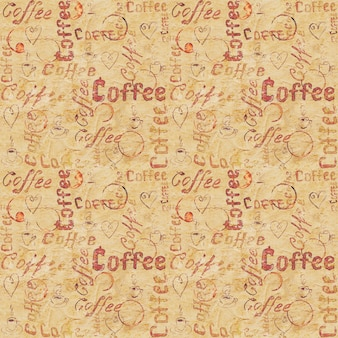 Vintage beige oud papier naadloos koffiepatroon met sporen van letters, hartjes, koffiekopjes en kopjes trace