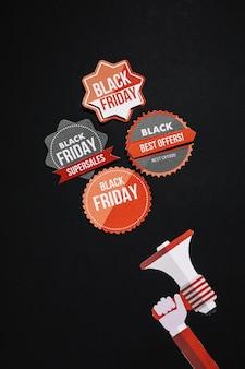 Vintage black friday-stickers en megafoon