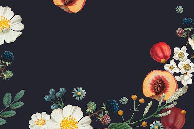 Vintage bloemen frame hand getekende illustratie
