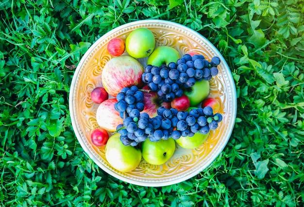 Vintage bord met fruit op het groene gras. rustiek zomerfruit plat gelegd. gezond vegetarisch voedsel levensstijl concept. zomerse sferen. picknick ideeën.