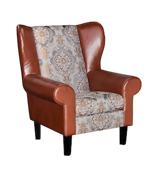 Vintage bruin lederen fauteuil geïsoleerd op wit