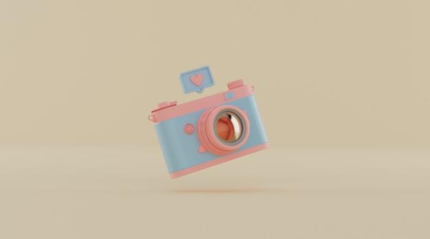 Vintage camera met melding voor sociale media.
