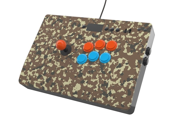 Vintage camouflage gekleurde arcade game machine met controllers geïsoleerd op wit met uitknippad. 3d-weergave van game-uitrusting en gamer-werkruimteconcept