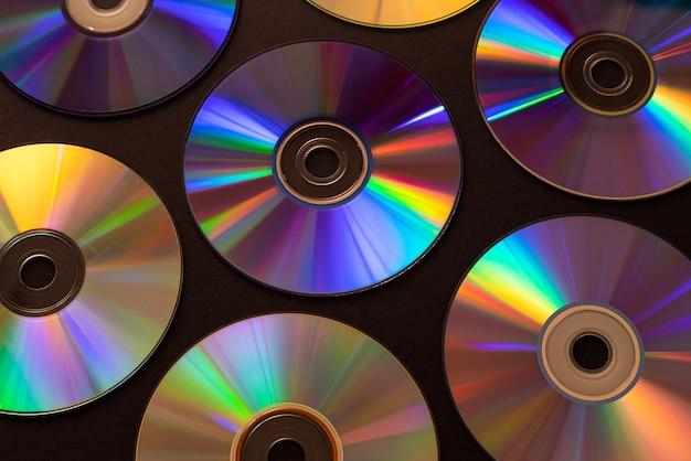 Vintage cd- of dvd-schijfoppervlak, oude cirkelschijven die worden gebruikt voor gegevensopslag.