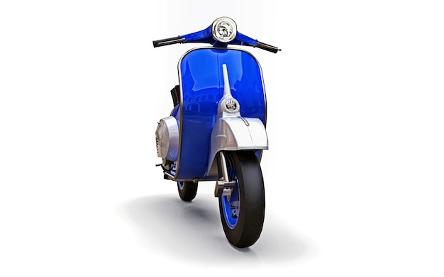 Vintage europese blauwe scooter op een witte achtergrond. 3d-rendering.