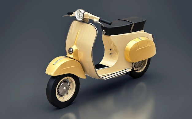Vintage europese gouden scooter op een grijze achtergrond. 3d-rendering.