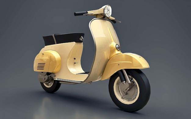 Vintage europese gouden scooter op grijs. 3d-weergave