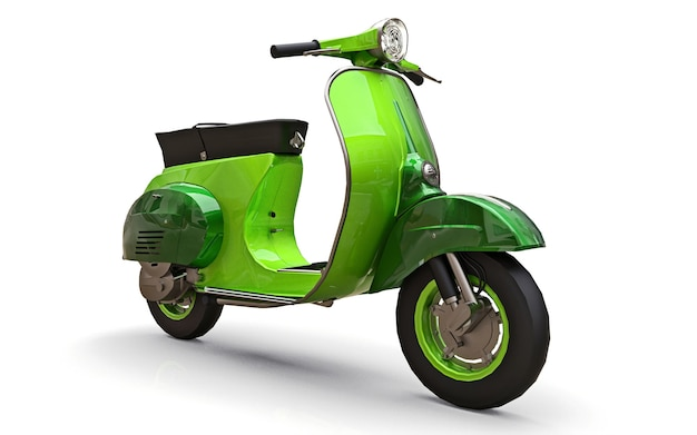Vintage europese groene scooter op een witte achtergrond. 3d-rendering.
