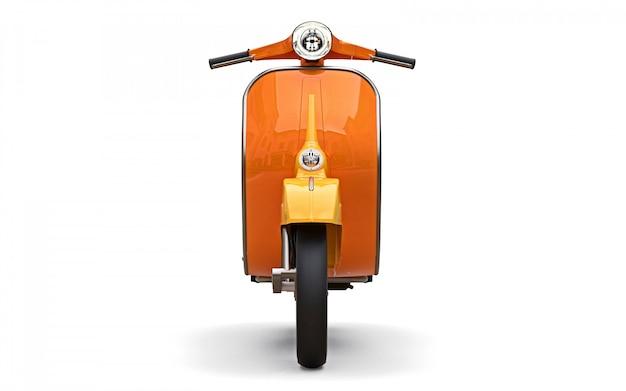 Vintage europese oranje scooter op een witte achtergrond. 3d-weergave