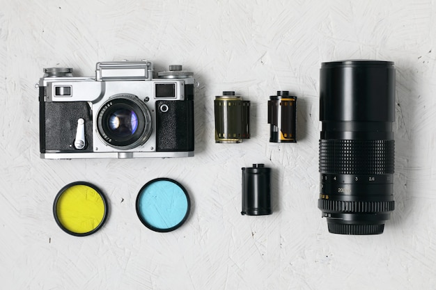 Vintage filmcamera en accessoires