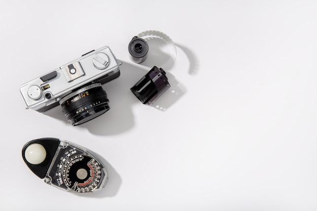Vintage fotocamera. afstandsmeter filmcamera.