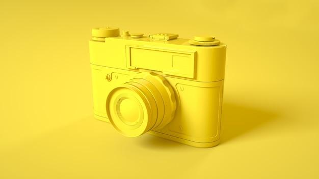 Vintage fotocamera op geel. 3d-afbeelding.
