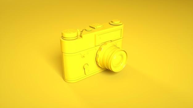 Vintage fotocamera op geel. 3d-weergave.