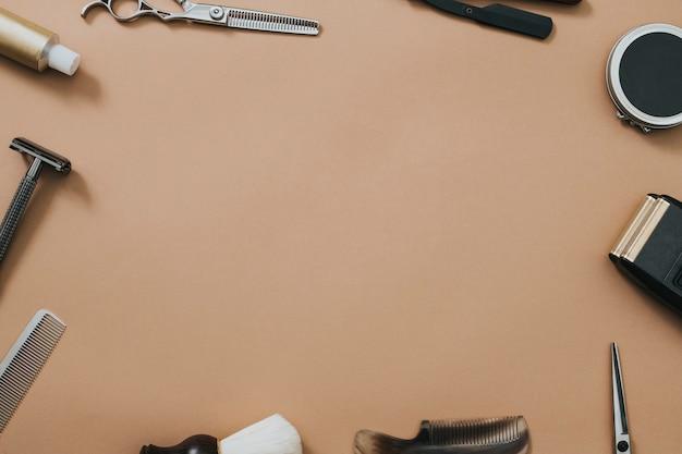 Vintage frame salon tools in banen en carrière concept