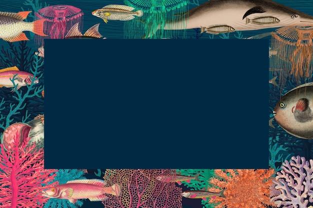 Vintage frameillustratie met onderwaterpatroon, geremixt van kunstwerken uit het publieke domein