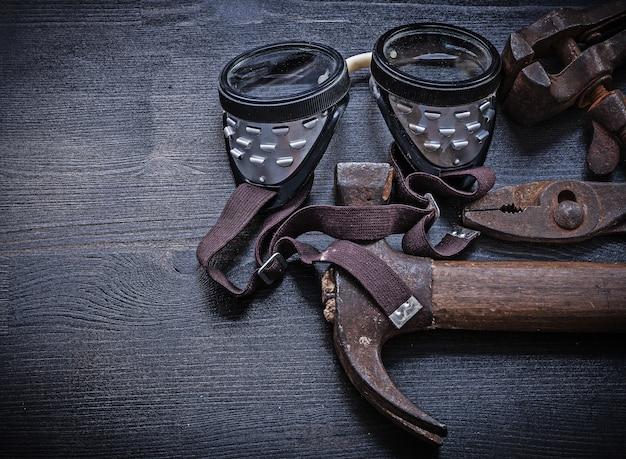 Vintage gereedschap bril hamer tang klem