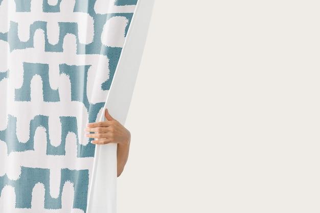 Vintage gordijn, blauw blokpatroon met ontwerpruimte