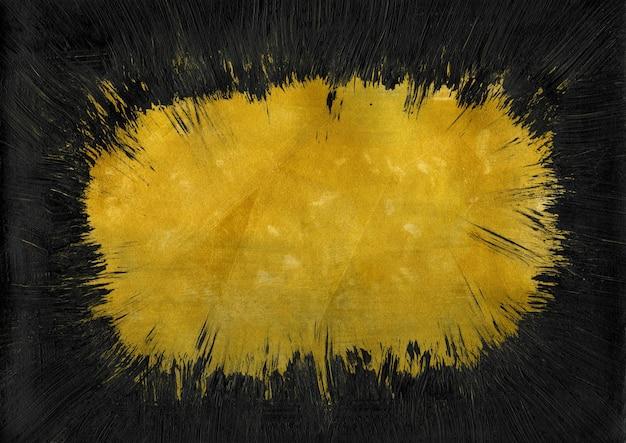 Vintage gouden en zwarte textuur met ruis en penseelstreken. abstracte spetterde achtergrond voor vignet