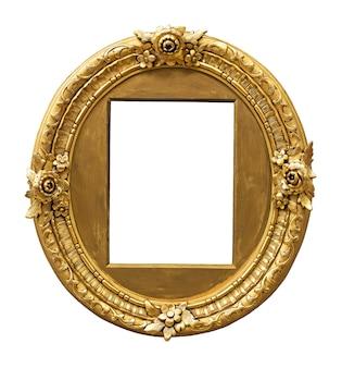 Vintage gouden kleur fotolijst geïsoleerd op een witte ondergrond