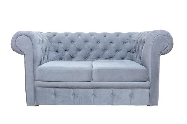 Vintage grijze of blauwe stoffen bank geïsoleerd op wit, vooraanzicht