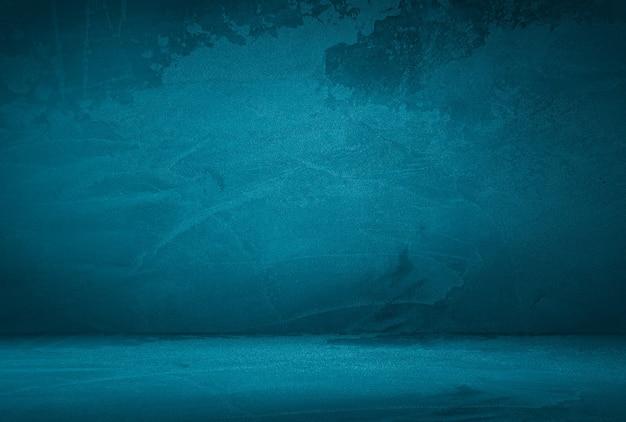 Vintage grunge blauwe betonnen textuur muur achtergrond Premium Foto
