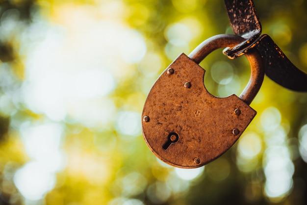 Vintage grunge metallic old lock buiten op de natuur